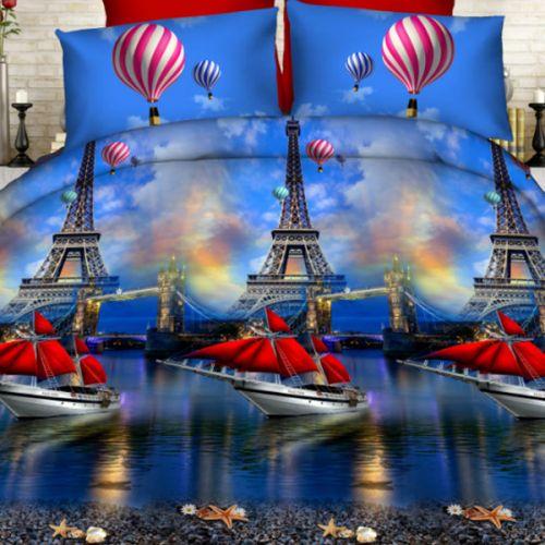 Pościel 3D - Paryskie Łodzie - 220x200 cm - 3 cz - 902-03