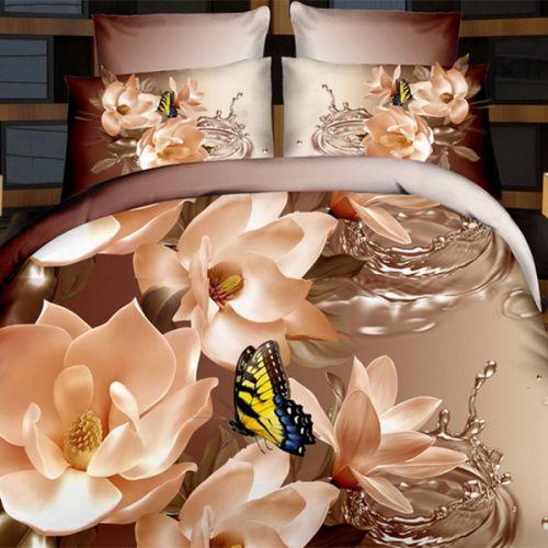 Pościel 3D - Złote Kwiaty - 160x200 cm - 3 cz - 1711-03