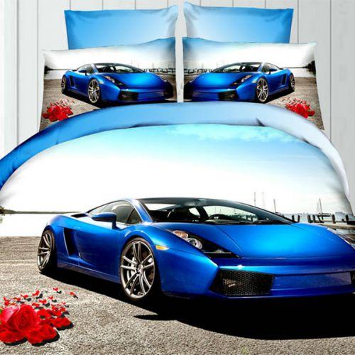 Pościel 3D - Niebieski Samochód - 160x200 cm - 3 cz - 342-05