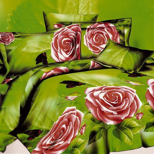 Pościel 3D - Róże i Motyle - 220x200 cm - 3 cz - 143-07