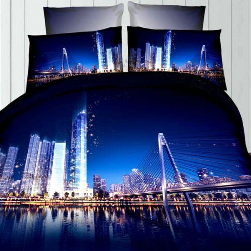 Pościel 3D - Miasto nocną porą - 160x200 cm - 3 cz - 237-08