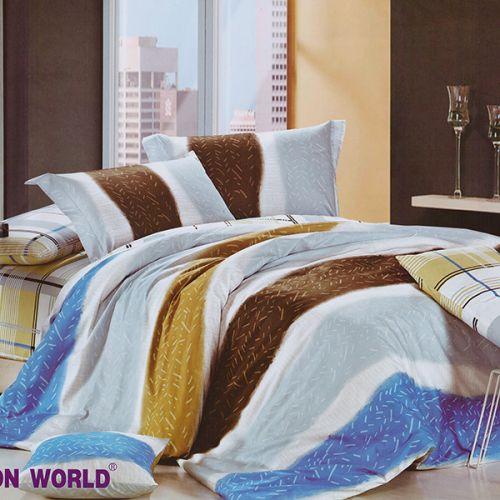 Pościel bawełniana - Kolorowe Pasy - 160x200 cm - 3cz -242-03