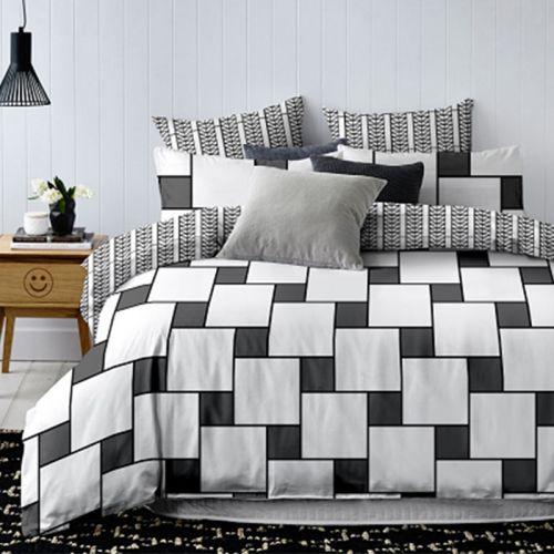 Pościel dwustronna - Białe Kwadraty - 220x200 cm - 3cz - 384-07