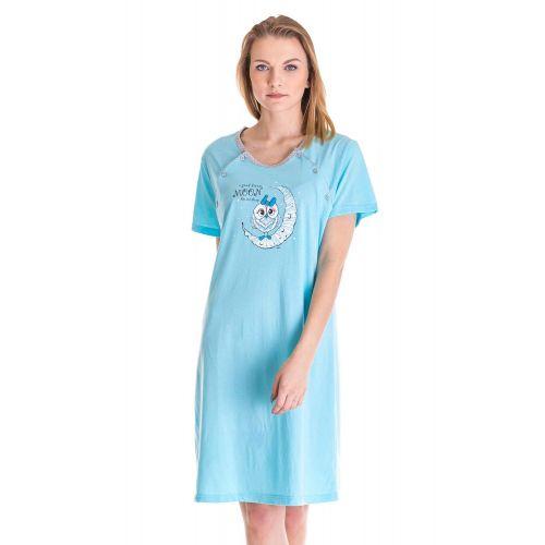 Koszula Nocna Dla Mam Karmiących - Niebieska (86386)