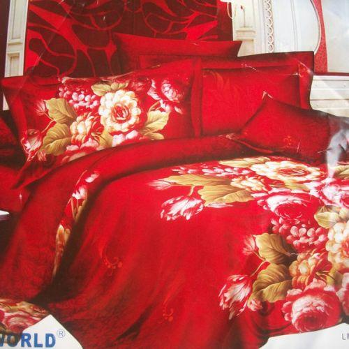 Pościel 3D Pluszowa - Czerwony Róż - 220x200 cm - 3 cz