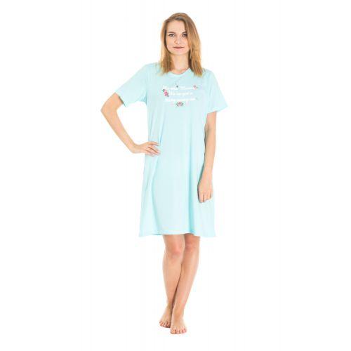 Koszula Nocna z Nadrukiem - Błękitna (65620)