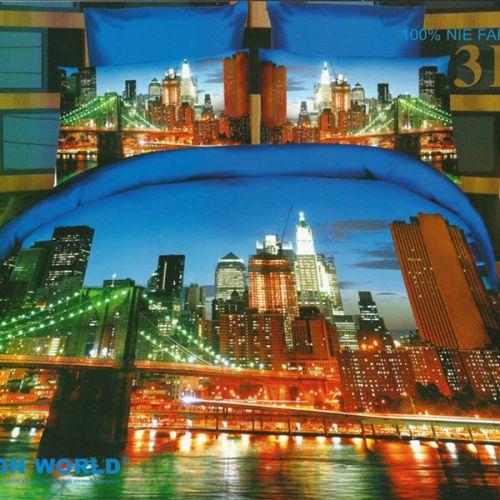 Pościel 3D - Oświetlony Most - 160x200 cm - 4 cz - 166-02