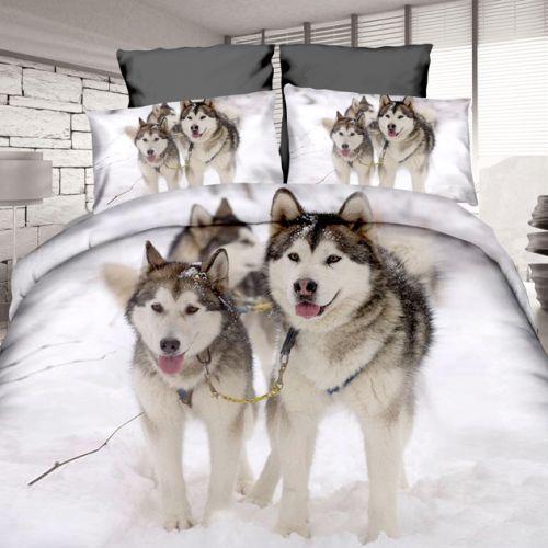 Pościel 3D - pieski na śniegu  - 160x200 cm - 3 cz - 4204-04