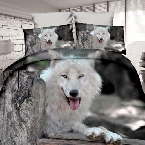 Pościel 3D - biały wilk - 160x200 cm - 3 cz - 4204-05