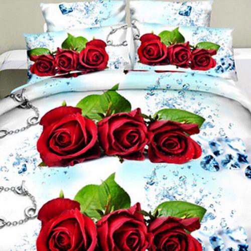 Pościel 3D - Trzy Róże - 160x200 cm - 4 cz - 1708-03