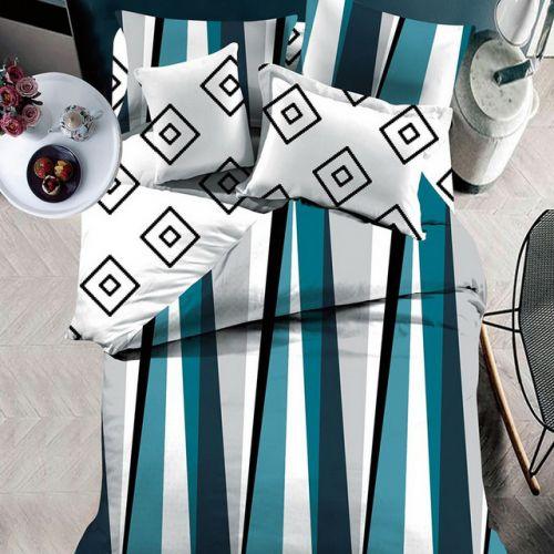 Pościel dwustronna - Niebieskie Paski  - 160x200 cm - 3cz - 4303-06