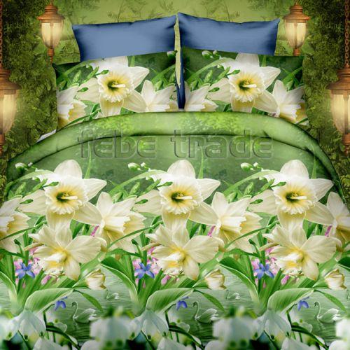 Pościel 3D - Kwiaty Narcyzy  - 160x200 cm - 3 cz - 386-04