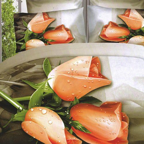 Pościel 3D - Pomarańczowe Tulipany - 220x200 cm - 3 cz - 59-07