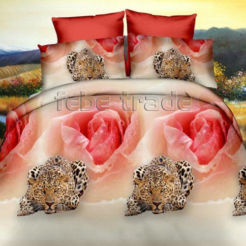 Pościel 3D - Różę z Leopardami - 160x200 cm - 3 cz - 352-03
