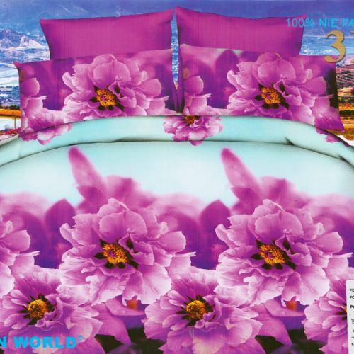 Pościel 3D - Kwiaty Cynie - 220x200 cm - 3 cz - 352-11