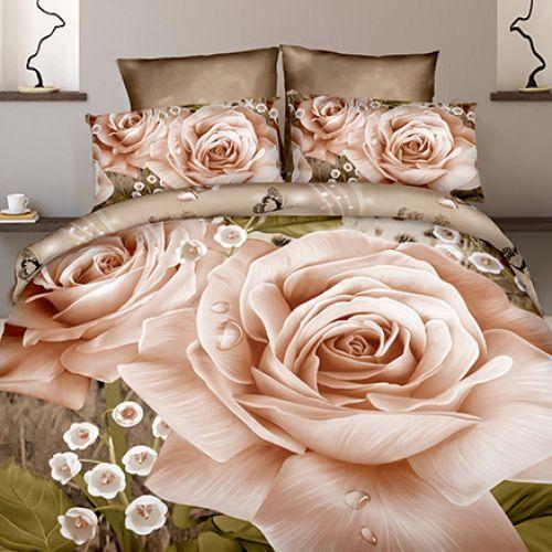Pościel 3D - Kremowa Róża - 140x200 cm - 2 cz - 4211-103