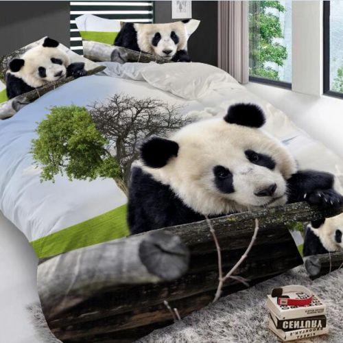 Pościel 3D -  Panda w Dziczy  - 160x200 cm - 3 cz - K-7-01