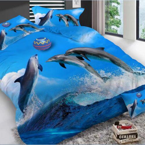 Pościel 3D - Grające Delfiny  - 160x200 cm - 3 cz - K-7-02