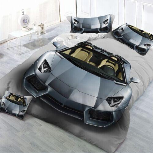 Pościel 3D -  Srebrne Lamborghini- 160x200 cm - 3 cz - K-7-07