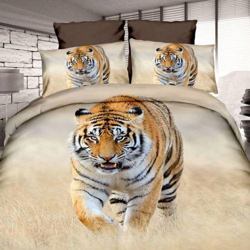 Pościel 3D - Polujący Tygrys - 160x200 cm - 3 cz - 4209-08