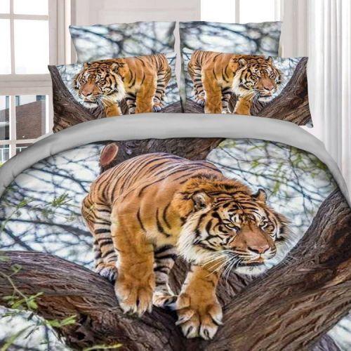 Pościel 3D - Polujący Tygrys - 160x200 cm - 3 cz - 4211-101