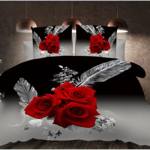 Pościel 3D - Róże Czerwone  - 160x200 cm - 3 cz -  788-05