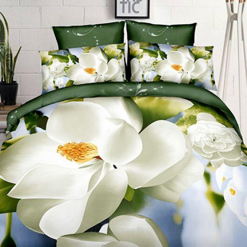 Pościel 3D - Biała Magnolia - 140x200 cm - 2 cz - 4211-89