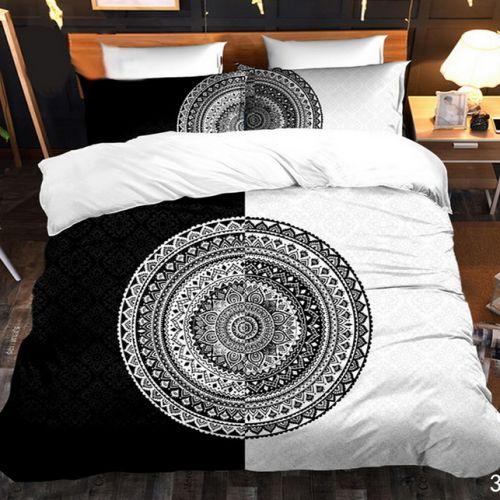 Pościel 3D - Czarno-Biała Geometria - 160x200 cm - 3 cz - 4219-344