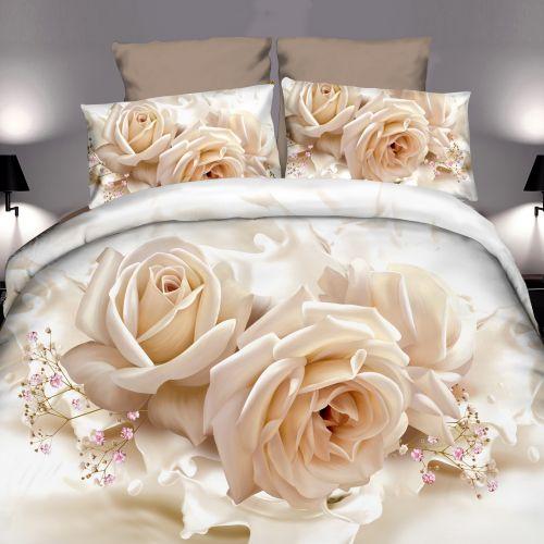 Pościel 3D - Kremowe Róże - 160x200 cm - 4 cz - 4219-132