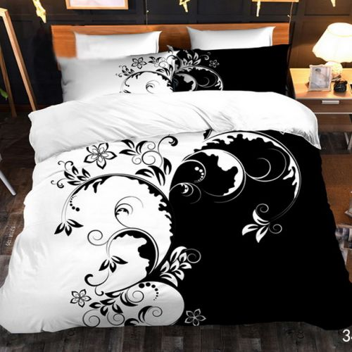 Pościel 3D - Czarno-Biały Motyw - 160x200 cm - 4 cz - 4219-348