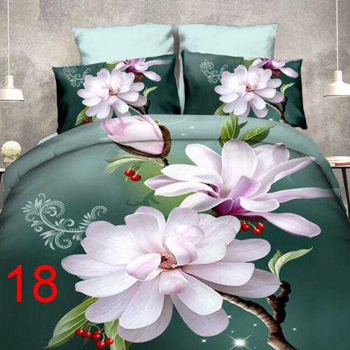 Pościel 3D - Jasne Kwiaty - 160x200 cm - 3 cz - 4219-18