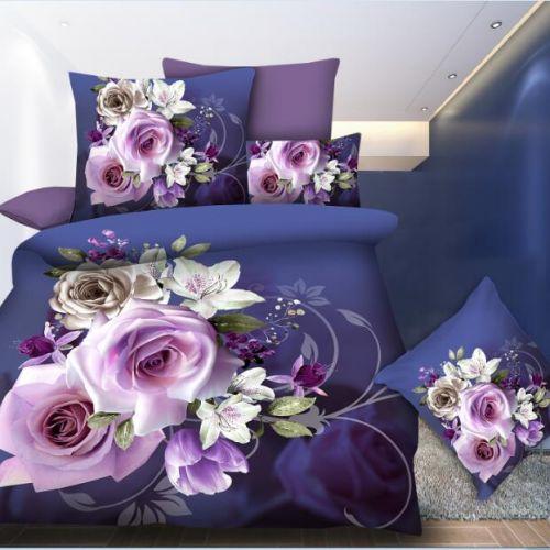 Pościel 3D - Fioletowe Róże - 220x200 cm - 4 cz - MI6200