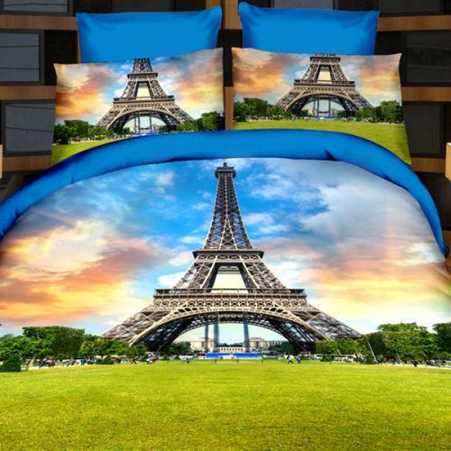 Pościel 3D - Wieża Eiffla - 220x200 cm - 3 cz - 165-08